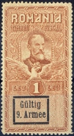 "ROMANIA  DEUTSCHLAND 1918 German  OCCUPATION   War Stamps ""9 Armee,9th Army"" REVENUE FISCAL 1 LEU    MNH - Usado"