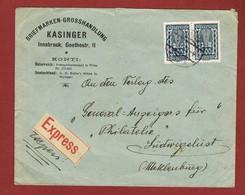 Infla Ab 1 Nov 1922  Brief Express Wien - Ludwigslust; 2 Scan - 1918-1945 1ère République
