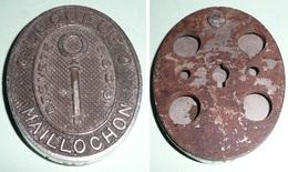 Rare Ancienne Plaque D'entrée De Serrure En Bronze Chromé Et Métal Pour Coffre-fort, LEQUEUE MAILLOCHON, Breveté SGDG - Plaques Publicitaires