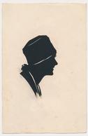 Silhouette Hat Woman Femme Avec Chapeau Original Vintage Hand Made Silouette Siluette  Old Card - Silhouettes