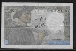 France 10 Francs Mineur - Fayette N°8-17 - TTB - 1871-1952 Antichi Franchi Circolanti Nel XX Secolo
