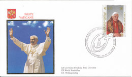 Vatican FDC 18-21/8-2005 International World Youth  Day With POPE Stamp And Cachet - FDC