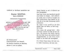 Z 271. Zuster MARTHA (Maria GEEBELEN ) - Grauwzuster Franciscanes - °OPGLABBEEK 1909 / +HASSELT 1989 - Images Religieuses