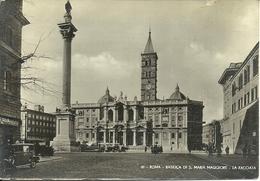 Roma (Lazio) Basilica Di Santa Maria Maggiore, Facciata, Colonna E Piazza, Old Car - Eglises