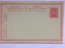 BELGIQUE - Albert - Carte Postale Avec Reponse Payee - 1915-1920 Albert I