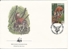 Zaire FDC 15-10-1984 WWF Cover OKAPI With Cachet Panda On The Stamp - FDC