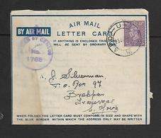 South Africa,  WWII, 3d Air Letter (SA) APO - U - M C K 16 23.JAN 44 > Brakpan Tvl; Crowned Censor No 1765 - South Africa (...-1961)