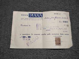 "PORTUGAL FISCAL REVENUE RECIBO DOCUMENT ADVERTISING "" DIANA HUNTING MAGAZINE"" 1956 - Portugal"