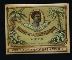 """Ancienne étiquette   Rhum   Vieux De La Martinique  Vernet & Cie Importateur Marseille """"visage """"étiquette Vernie"""" - Rhum"""
