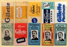 Rasage. Razor Blade. Lame De Rasoir. Lot De 10 Lames Gillette Différentes, France, U.S. Canada, England, Spain. - Lames De Rasoir