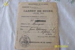 1www1 France Carte De Rationnement Carnet De Sucre Année 1918 - 1914-18