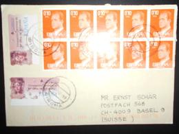 Espagne Lettre De Girona 1999 Pour Basel , Affranchis A 10 Timbres A 0,10 Et Vignette - 1991-00 Lettres