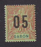 Gabon, Scott #75a, Mint Hinged, Navigation And Commerce Surcharged, Issued 1912 - Unused Stamps