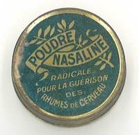 """Petit Boite En Tôle Litho """" Poudre Nasaline """", Guérison Des Rhumes De Cerveau - Boîtes"""