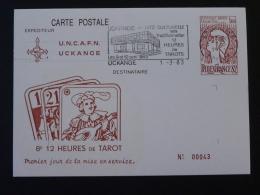 57 Moselle Uckange 12h De Tarot 1983 Flamme Concordante Entier Postal Marianne De Cocteau Decaris Stationery Card - Games