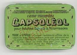 "Boite En Tôle Litho "" Capsoléol "", Antiseptique Nasal Sans Menthol, Fr. Aninat, Pharmacien, Nimes ( Gard ) - Boîtes"