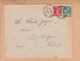 Lettre De DEAUVILLE Calvados   Le II 2 1927 Pour PONT-L'EVEQUE Calvados  Semeuse 40c Et 10c - 1906-38 Semeuse Camée