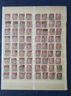 Foglio Con 72 Penny Rosso Dentellato Usati - 1840-1901 (Regina Victoria)