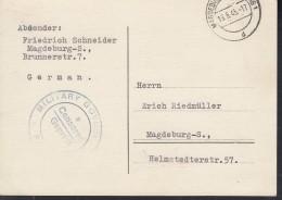 SBZ  Orts-Postkarte Ohne Gebühr Bezaht, Gestempelt: Magdeburg 19.6.1945, Zensur - Zone Soviétique