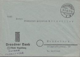 Ortsbrief Ohne Porto Der Dresdner Bank, Stempel: Magdeburg 5.7.1945, Rückseitig: ZENSUR-Stempel - Zone Soviétique