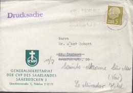 SAARLAND 384 EF Auf Drucksache, Stempel: Saarbrücken 10.7.1957 - 1957-59 Bundesland
