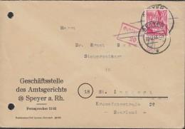 FranzZone Rheinland-Pfalz 25 EF Auf Wiederverwendeten Gebühr Bezahlt Brief, Stempel: Speyer 23.12.1948 - Zone Française