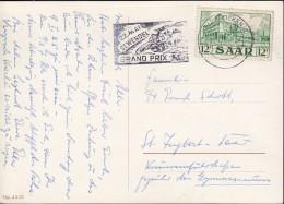 SAAR 326 EF Auf AK: Hummel-Figur Flöter Bei Mondschein Mit Stempel: Saarbrücken Motorrad Grand Prix 25.12.1954 - Briefe U. Dokumente