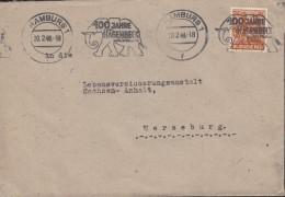 AllBes. GemAusg.  951 EF Auf Fernbrief, Mit Rollenstempel: Hamburg 100 Jahre Hagenbeck 20.2.1948, Elefant - Zona AAS