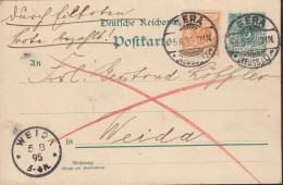 DR 49 Ba MiF Auf P 36 I, Eilboten Im Ortsbezirk, Bote Bezahlt, Gestempelt: Gera 5.8.1895 - Brieven En Documenten