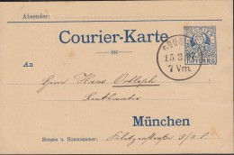 Stadtpost MÜNCHEN Courier-Karte 1 1/2 Pfennig, 15.3.1897 - Privé