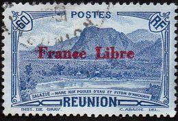 Réunion Obl. N° 197 - Vue -> Salazie, Mare Aux Poules D'eau Et Piton D'Auchain 60c Bleu Surchargé France Libre - Used Stamps