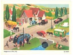 """Carte """" Image De La Vie """" (14) : La Route ( Automobiles, Autobus, Camions, Roulotte, Station Service, Pompe à Essence ) - Vieux Papiers"""
