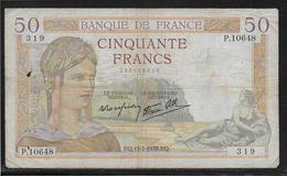 France 50 Francs Cérès - Fayette N°18-28 - TB - 1871-1952 Gedurende De XXste In Omloop
