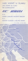YUGOSLAV RAILWAYS EURO CITY TRAIN MIMARA GUIDE BROCHURE TIMETABLE - Europa