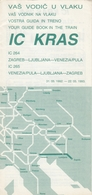 YUGOSLAV RAILWAYS INTER CITY TRAIN KRAS GUIDE BROCHURE TIMETABLE - Europa
