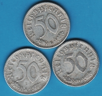DEUTSCHES REICH LOT 3 X 50 REICHSPFENNIG 1935 A+D+G  KM# 87 - [ 4] 1933-1945: Drittes Reich