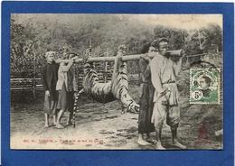 CPA Chasse Chasseur Tigre Tonkin Indochine Asie Circulé - Viêt-Nam