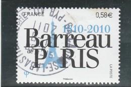 FRANCE 2010 OBLITERE A DATE BARREAU DE PARIS  YT 4512 -                                                    TDA251 - France