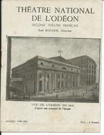 """Paris-Théâtre De L'Odéon-Saison 1942-1943-""""Souvenez-vous,Madame""""-Pièce En 2 Parties De M.Maurice Rostand (Voir Scan) - Programmes"""