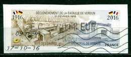 VIGNETTE LISA DECLENCHEMENT DE LA BATAILLE DE VERDUN OBLITEREE - 2010-... Geïllustreerde Frankeervignetten
