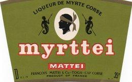 LOT DE 4 ETIQUETTES SIROPS  ET LIQUEURS-SOCIETE MATTEI -BASTIA -CORSE - Fruit En Groenten