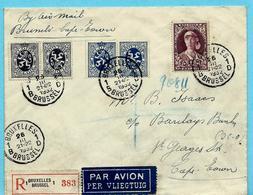 N° 332 + KP 8+11 Op Aanget. Zending, Afst. BRUXELLES 26/03/1932 Naar CAPE TOWN / KAAPSTAD 11/04/1932 - Belgium
