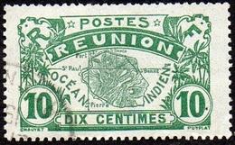 Réunion Obl. N°  85 - Vue -> Carte De L'ile - 10 Vert - Réunion (1852-1975)
