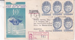 ICAO OACI 10 ANNIV-FDC CIRCULEE CANADA TO ARGENTINE YEAR 1955 RECOMMANDE- BLEUP - 1952-1960
