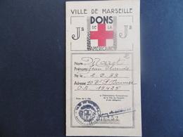 CARTE De La CROIX ROUGE AMERICAINE  -  VILLE De MARSEILLE    -  1941 - 1939-45