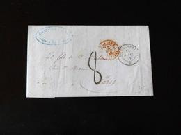 LETTRE DE NICE POUR PARIS - CACHET SARDAIGNE ANTIBES ROUGE  -  1849  - - Marcophilie (Lettres)