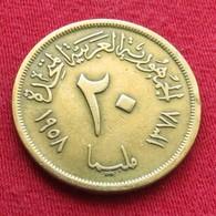 Egypt 20 Milliemes 1958   Egipto Egypte Egito Egitto Ägypten Wºº - Egypte