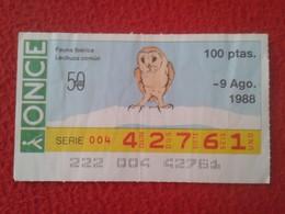 CUPÓN DE LA ONCE SPANISH LOTERY CIEGOS SPAIN LOTERÍA ESPAÑA BLIND 1988 FAUNA IBÉRICA ANIMALS LECHUZA COMÚN OWL VER FOTO - Billets De Loterie