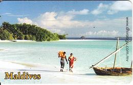 MALDIVES ISL.(chip) - Couple On The Beach, CN : 0267, Used - Maldiven