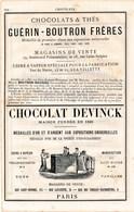 PUB 1881 Chocolats Guérin Boutron Frères Chocolat Devinck Compagnie Coloniale Pour La Fabrication Du Chocolats - 1800 – 1899